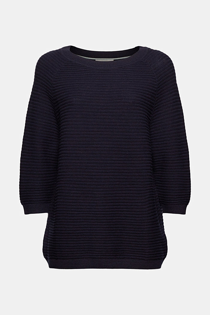 Linen/organic cotton: Rib knit jumper, NAVY, detail image number 5