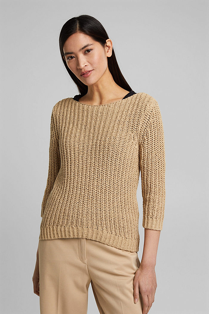 Ribbon yarn jumper with a bateau neckline, SAND, detail image number 0