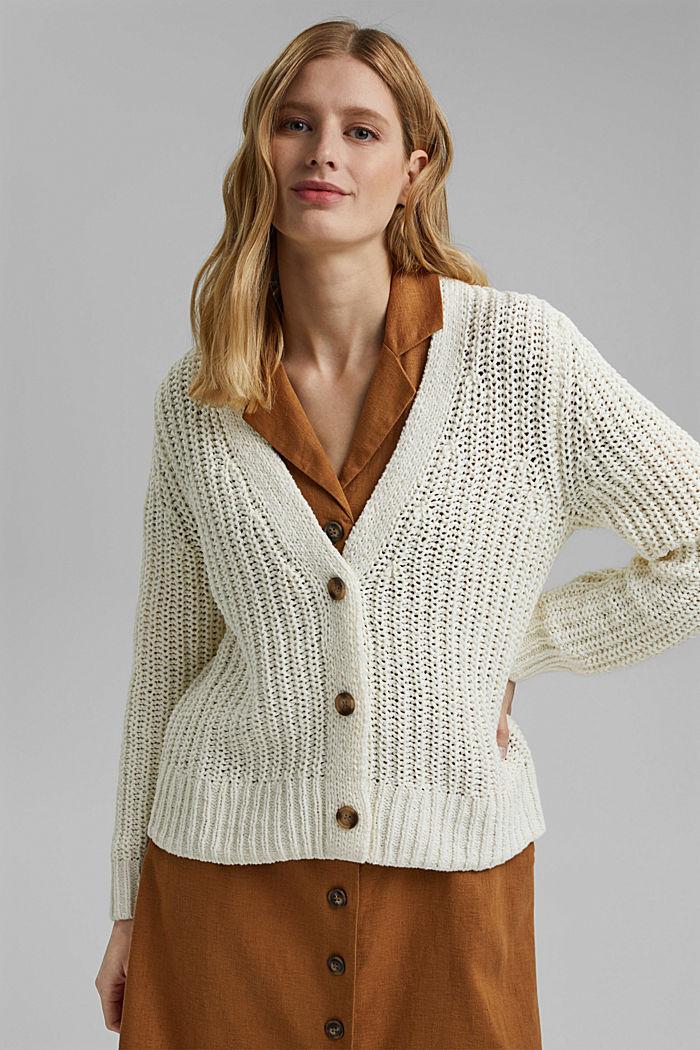 Ribbon yarn cardigan, OFF WHITE, detail image number 0