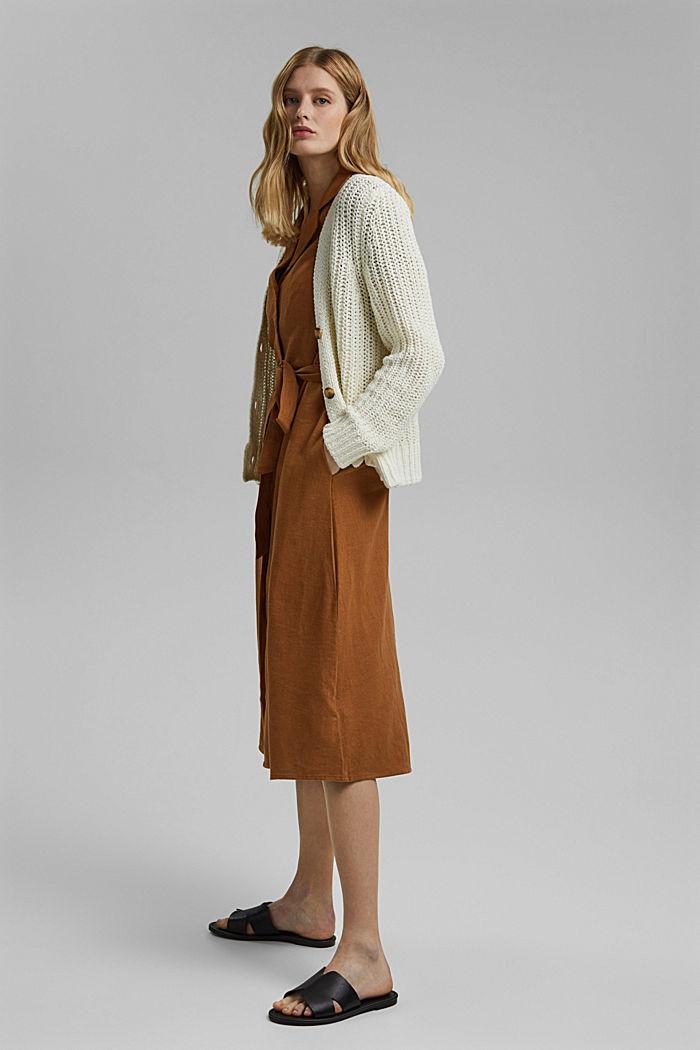 Ribbon yarn cardigan, OFF WHITE, detail image number 1