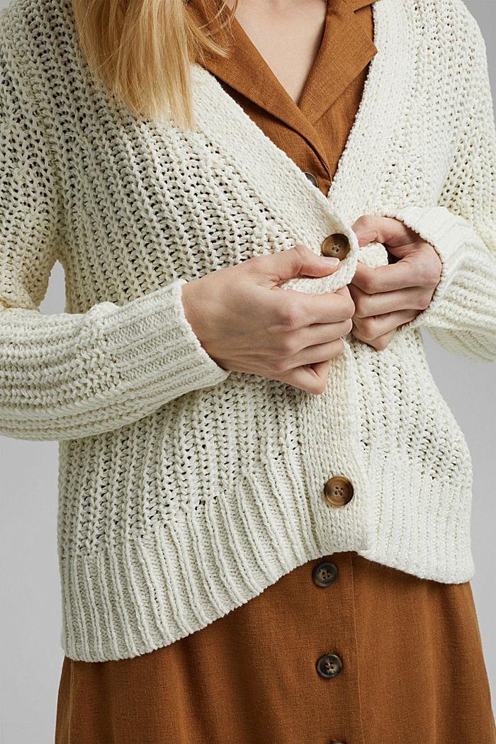 Ribbon yarn cardigan, OFF WHITE, detail image number 2