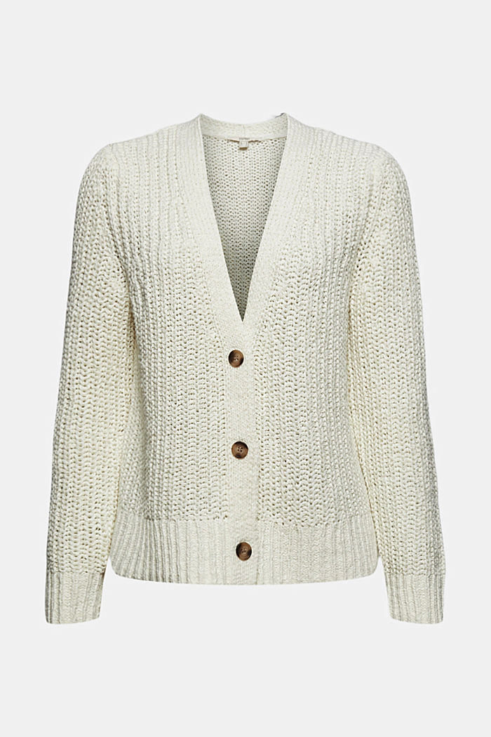 Ribbon yarn cardigan, OFF WHITE, detail image number 6