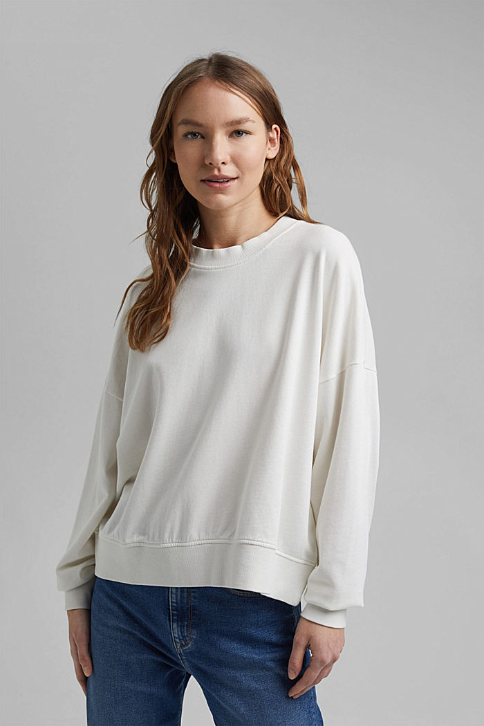 Boxy sweatshirt in 100% organic cotton, OFF WHITE, detail image number 0