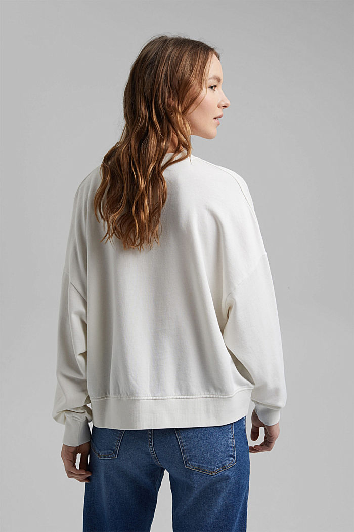 Boxy sweatshirt in 100% organic cotton, OFF WHITE, detail image number 3