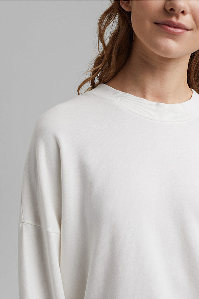 Boxy sweatshirt in 100% organic cotton, OFF WHITE, detail image number 2