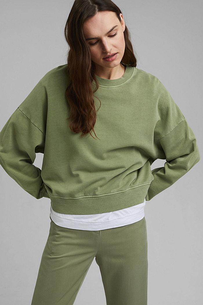 Boxy Sweatshirt aus 100% Organic Cotton, LIGHT KHAKI, detail image number 0