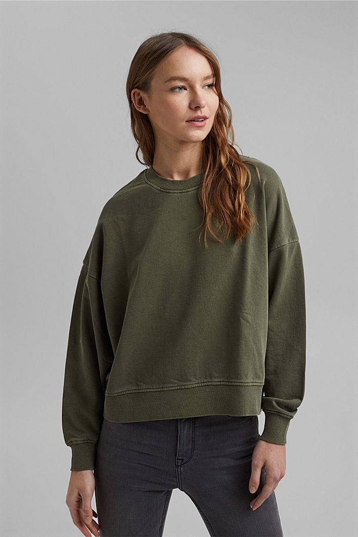 Boxy sweatshirt in 100% organic cotton, KHAKI GREEN, detail image number 0