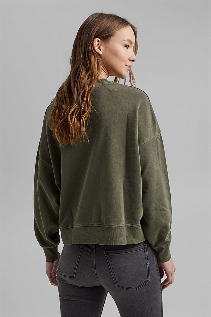Boxy sweatshirt in 100% organic cotton, KHAKI GREEN, detail image number 3