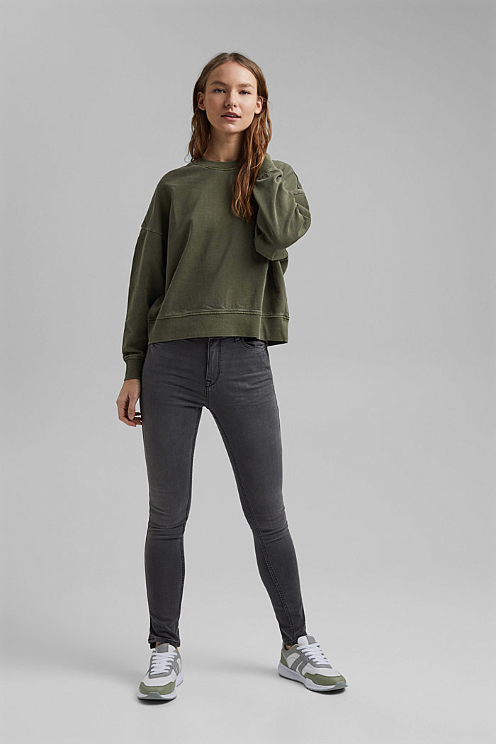 Boxy sweatshirt in 100% organic cotton, KHAKI GREEN, detail image number 5