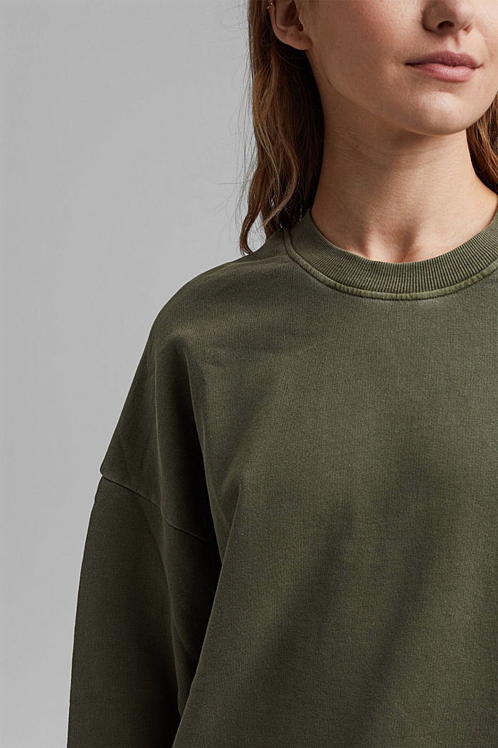 Boxy sweatshirt in 100% organic cotton, KHAKI GREEN, detail image number 2