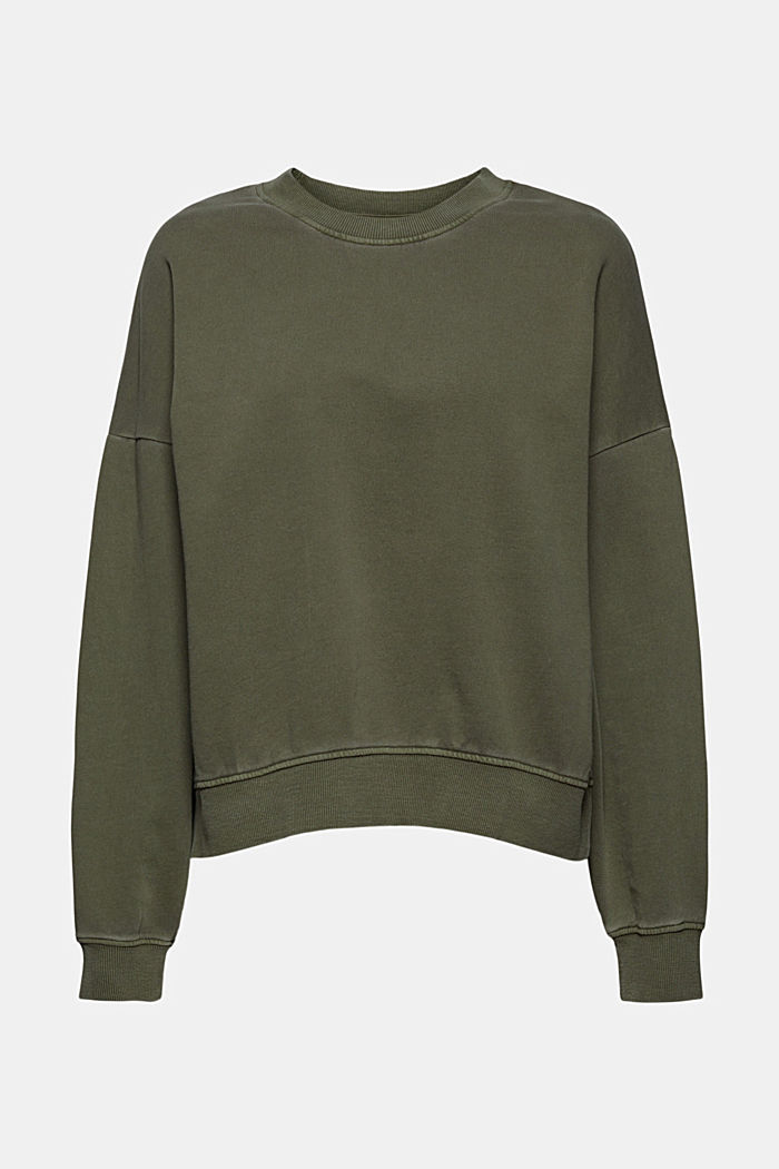 Boxy sweatshirt in 100% organic cotton, KHAKI GREEN, detail image number 6