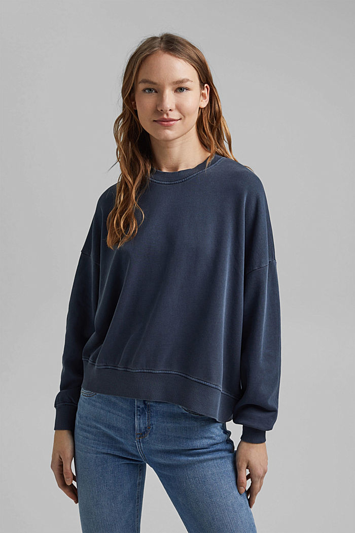 Boxy sweatshirt in 100% organic cotton, NAVY, detail image number 0