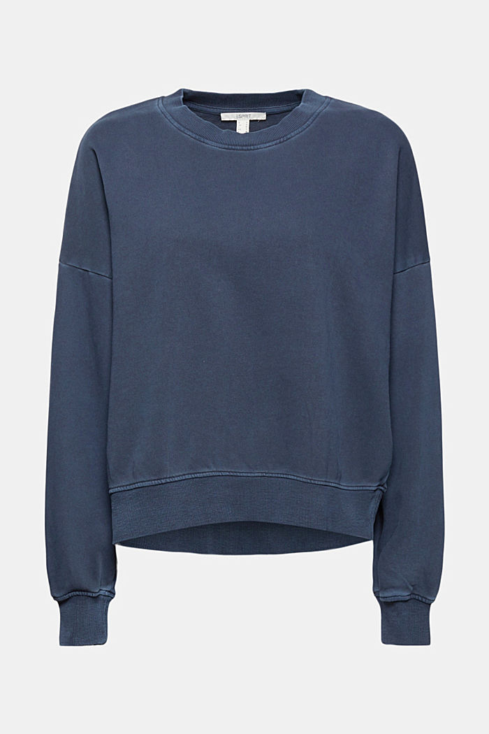 Boxy sweatshirt in 100% organic cotton, NAVY, detail image number 6