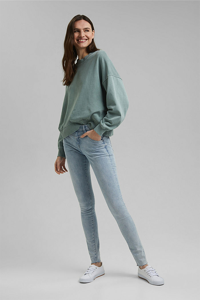 Sweat-shirt de coupe carrée, 100% coton biologique, TURQUOISE, detail image number 1