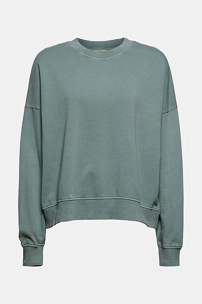 Sweat-shirt de coupe carrée, 100% coton biologique, TURQUOISE, detail image number 6
