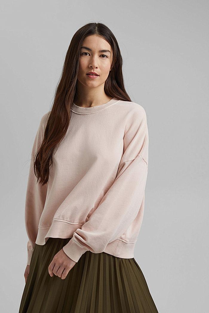 Boxy sweatshirt in 100% organic cotton, NUDE, detail image number 0