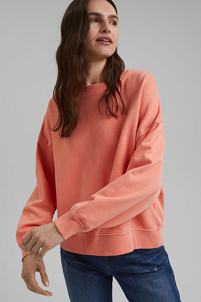 Boxy sweatshirt van 100% biologisch katoen, CORAL ORANGE, detail image number 0