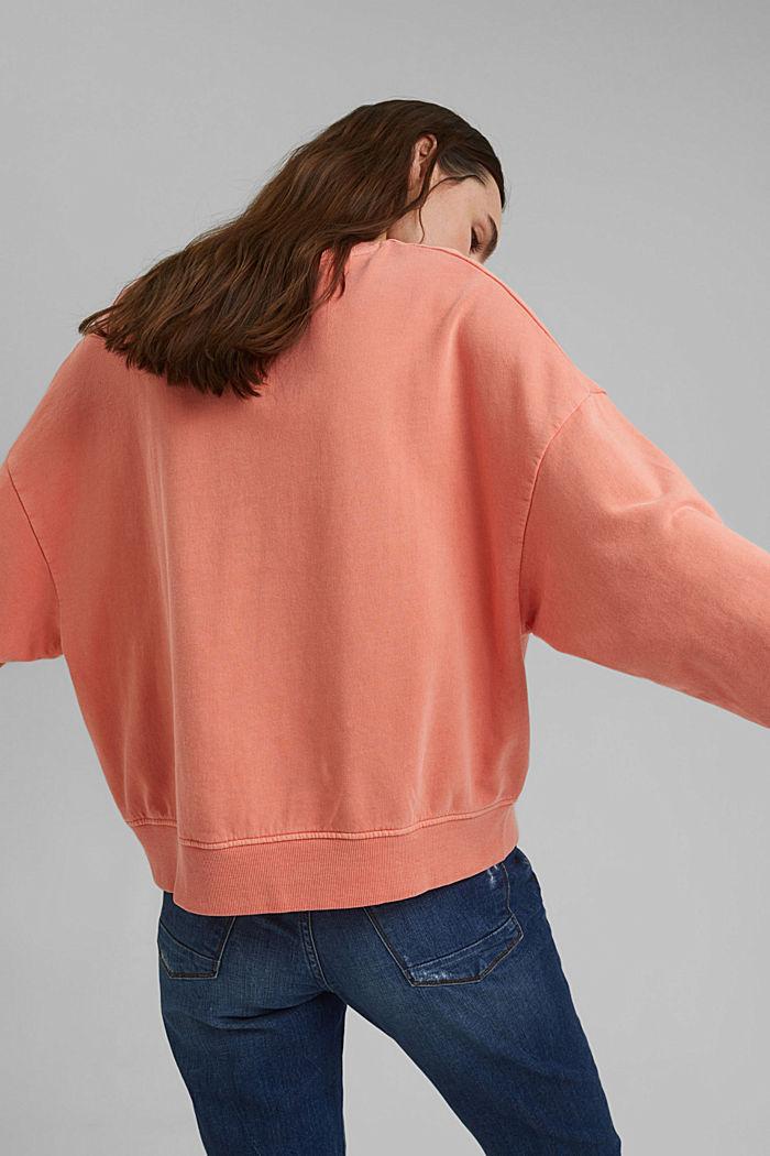 Boxy sweatshirt van 100% biologisch katoen, CORAL ORANGE, detail image number 3