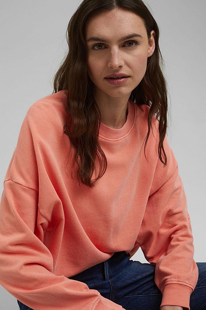 Boxy sweatshirt van 100% biologisch katoen, CORAL ORANGE, detail image number 6
