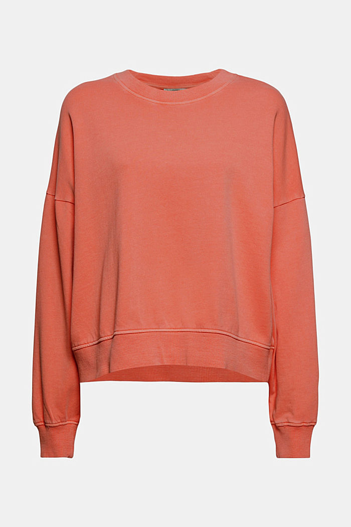 Boxy sweatshirt in 100% organic cotton, CORAL ORANGE, overview