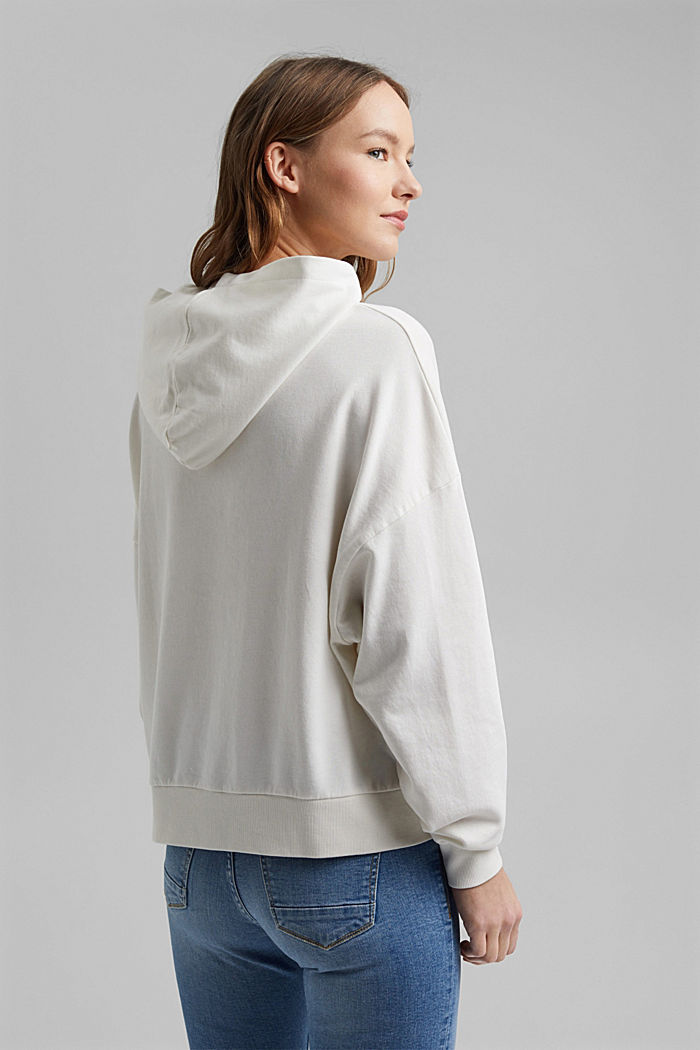 Boxy hoodie in 100% organic cotton, OFF WHITE, detail image number 3