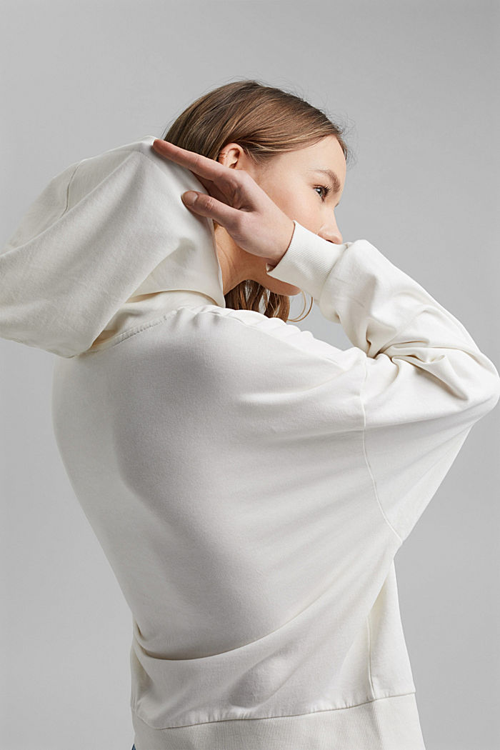 Boxy hoodie in 100% organic cotton, OFF WHITE, detail image number 5
