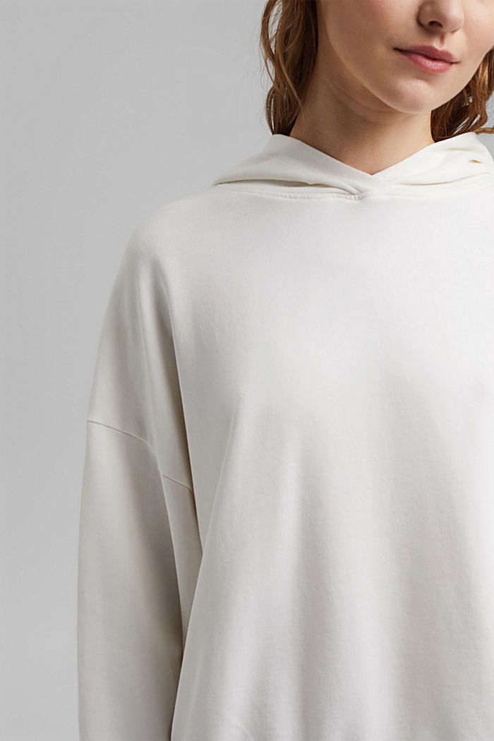 Boxy hoodie in 100% organic cotton, OFF WHITE, detail image number 2