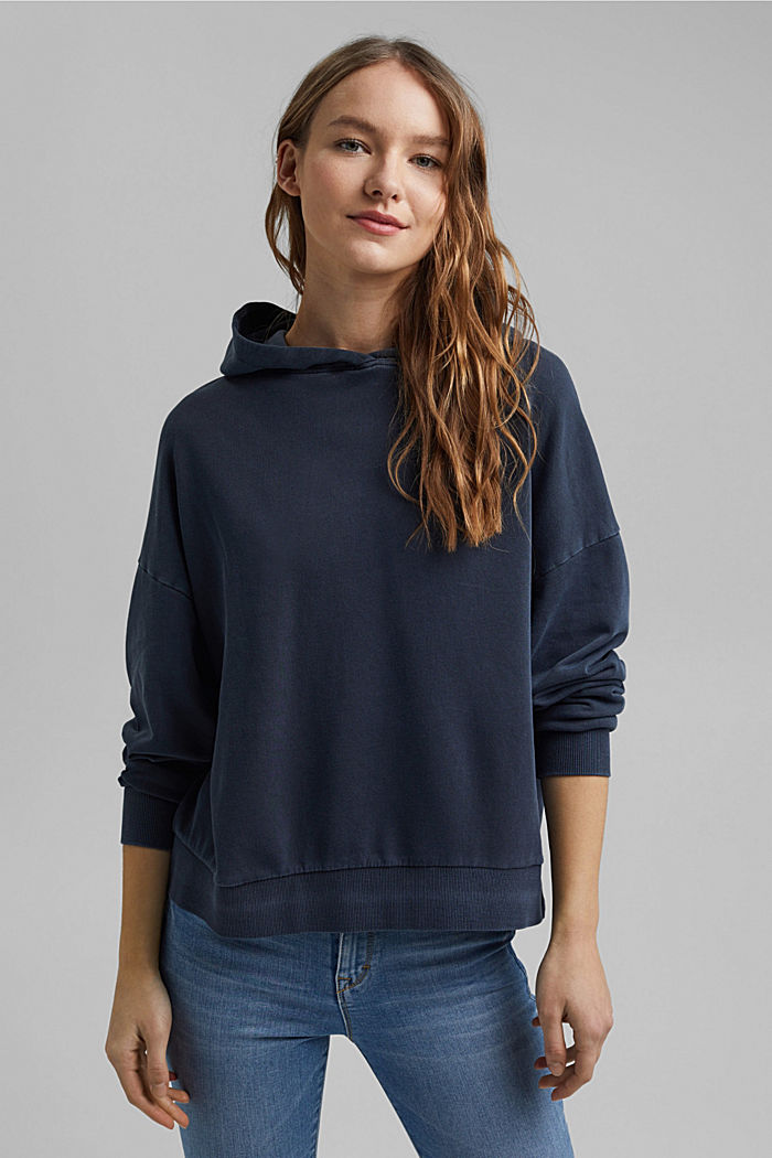 Boxy hoodie in 100% organic cotton, NAVY, detail image number 0