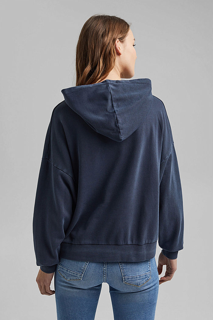 Boxy hoodie in 100% organic cotton, NAVY, detail image number 3
