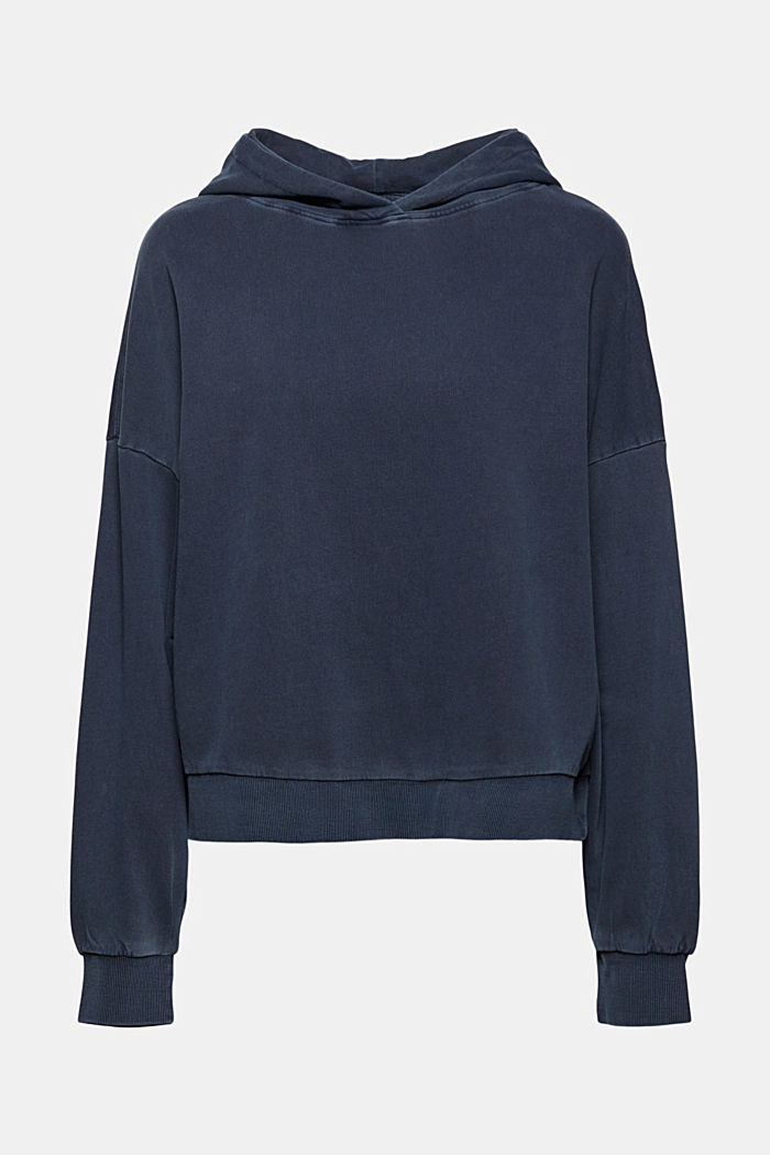 Boxy hoodie in 100% organic cotton, NAVY, overview