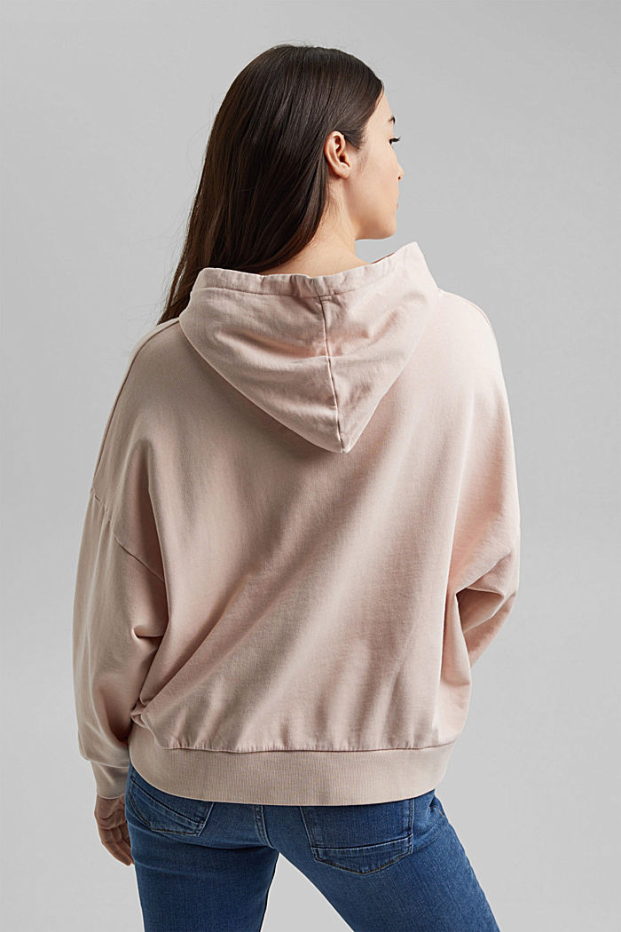 Boxy hoodie in 100% organic cotton, NUDE, detail image number 3