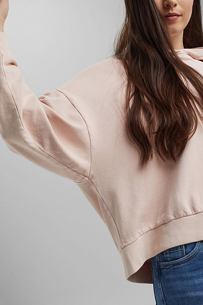 Boxy hoodie in 100% organic cotton, NUDE, detail image number 5