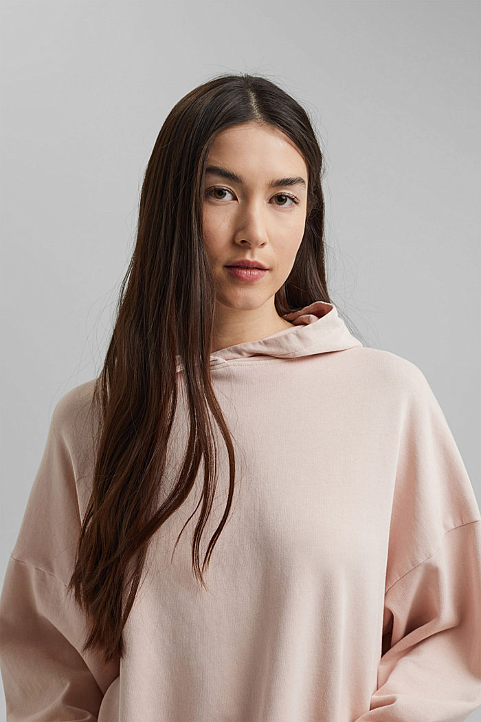 Boxy hoodie in 100% organic cotton, NUDE, detail image number 6