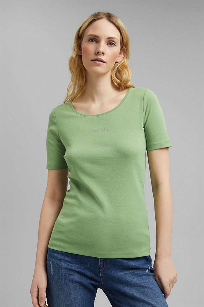 T-shirt with a glittery logo, 100% organic cotton, LEAF GREEN, detail image number 0