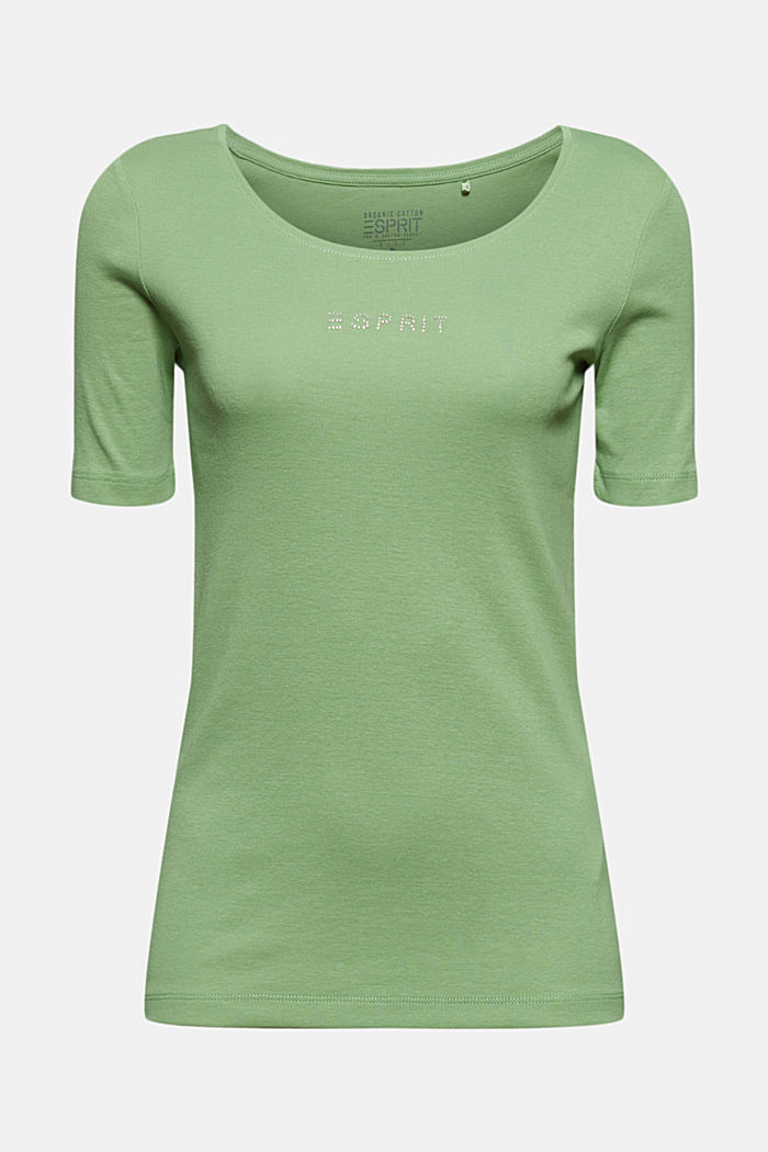T-shirt with a glittery logo, 100% organic cotton, LEAF GREEN, detail image number 5