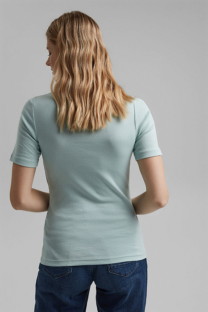 T-shirt with a glittery logo, 100% organic cotton, LIGHT AQUA GREEN, detail image number 3