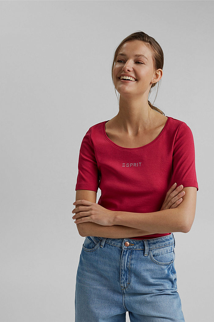 T-shirt with a glittery logo, 100% organic cotton, DARK PINK, detail image number 0