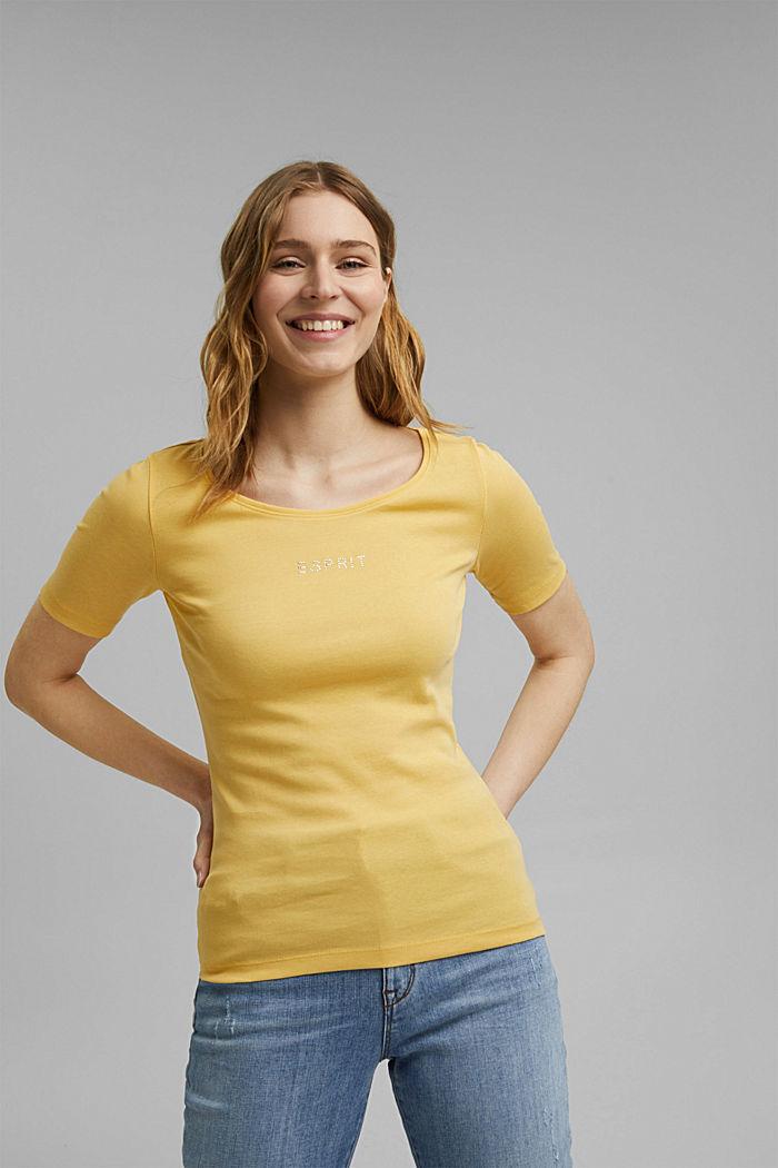 T-Shirt mit Glitzer-Logo, 100% Bio-Baumwolle, SUNFLOWER YELLOW, detail image number 0