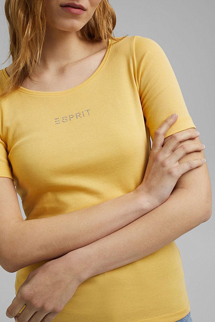 T-Shirt mit Glitzer-Logo, 100% Bio-Baumwolle, SUNFLOWER YELLOW, detail image number 2