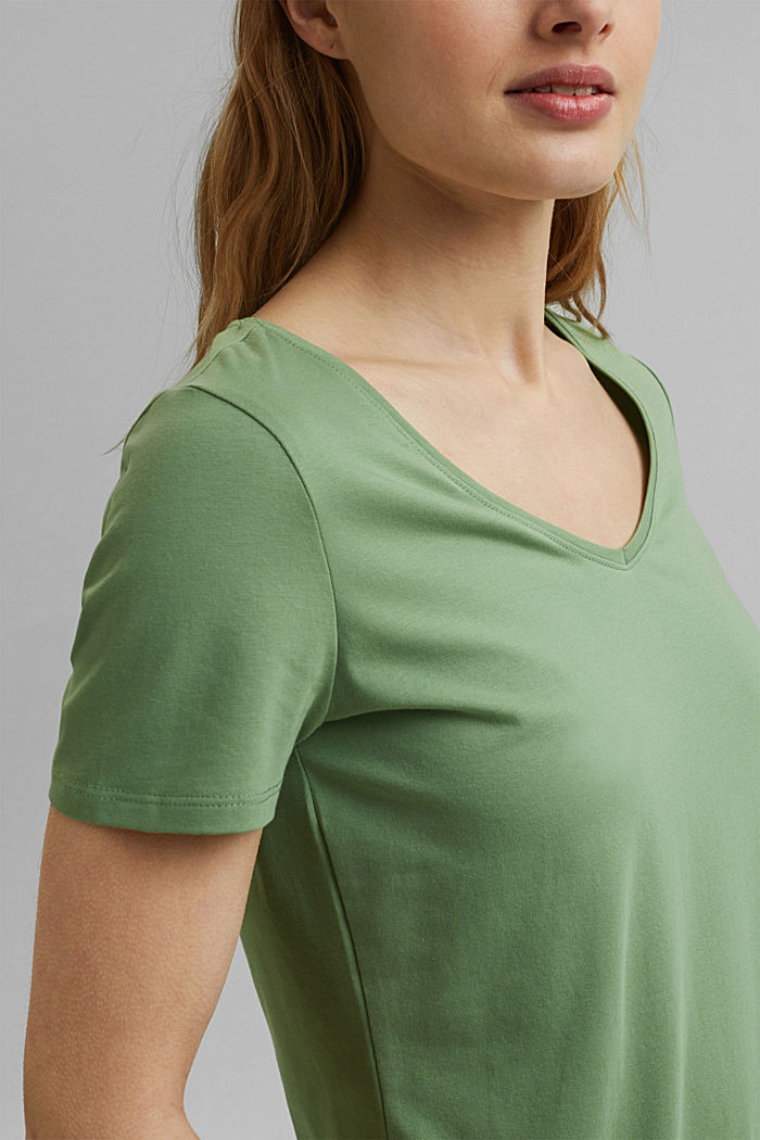 T shirt basique en coton biologique, LEAF GREEN, detail image number 2