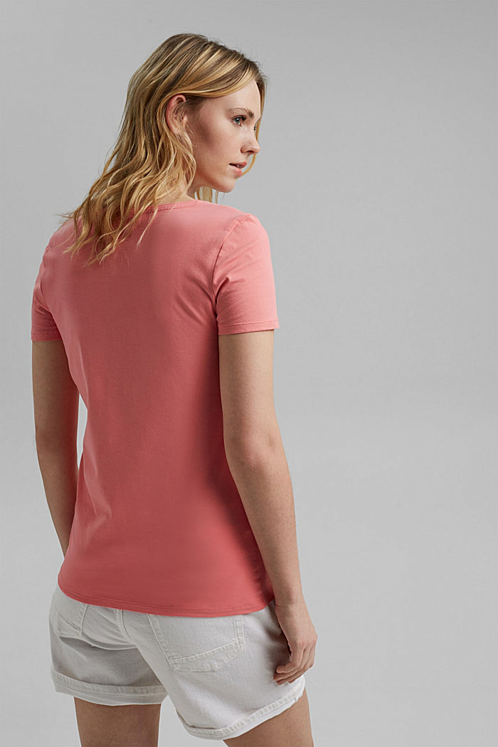 Basic T-shirt in organic cotton, CORAL, detail image number 3