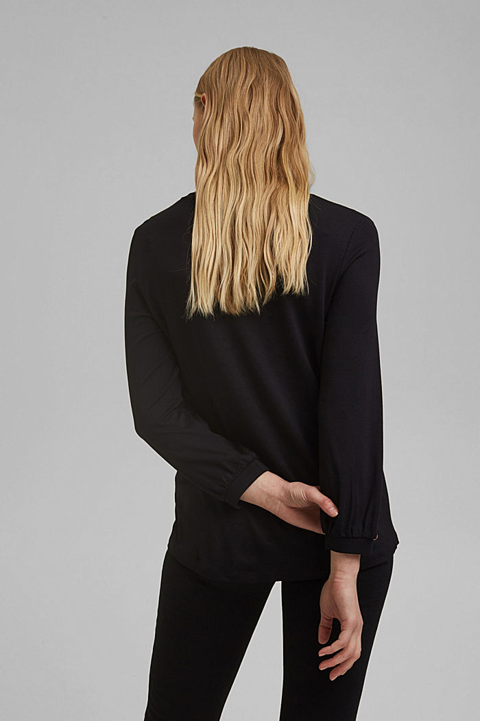 Long sleeve top with balloon sleeves, BLACK, detail image number 3