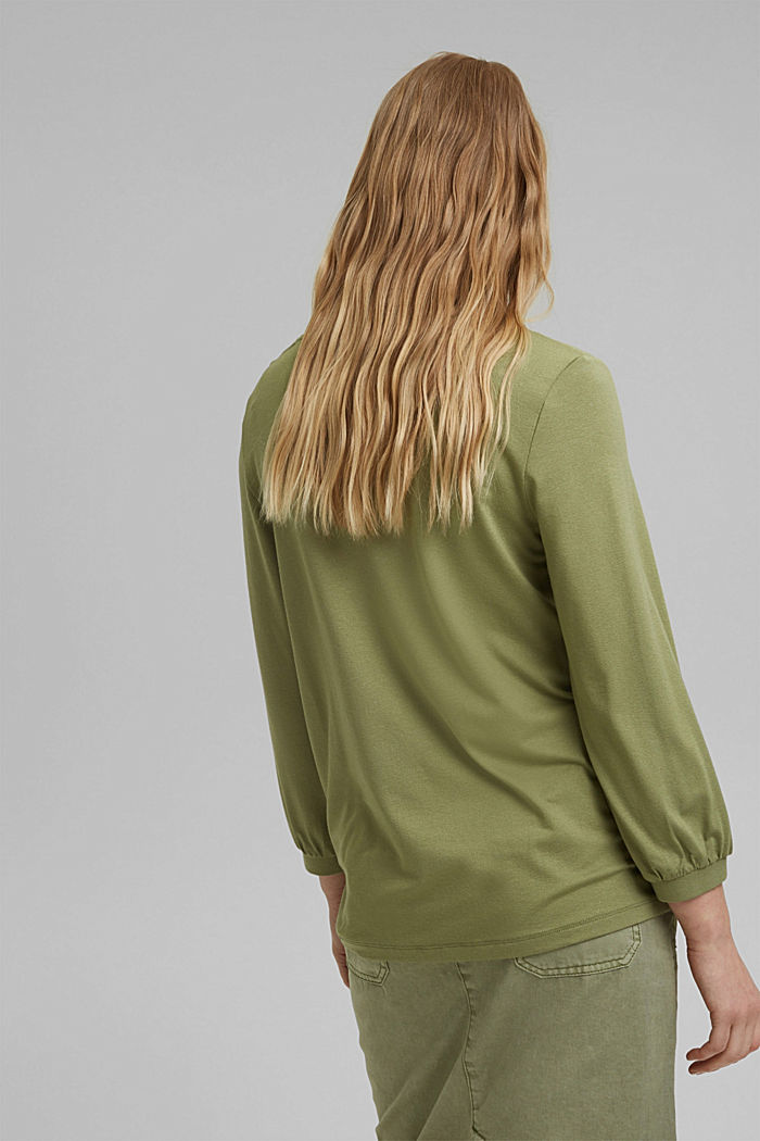 Long sleeve top with balloon sleeves, LIGHT KHAKI, detail image number 3