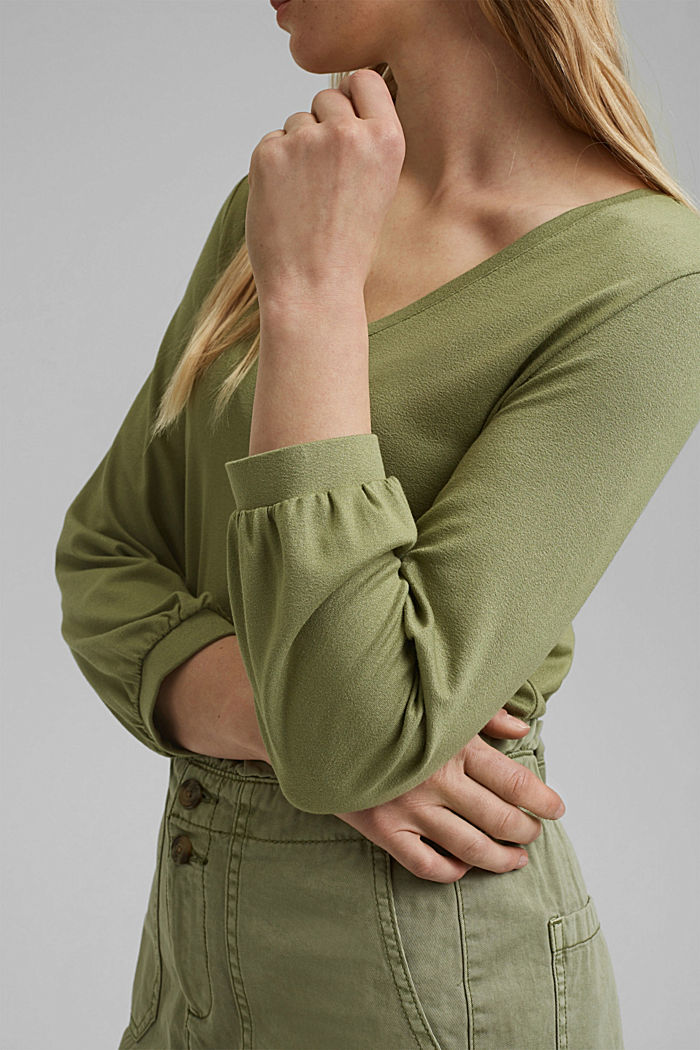 Long sleeve top with balloon sleeves, LIGHT KHAKI, detail image number 2
