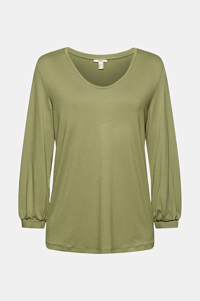 Long sleeve top with balloon sleeves, LIGHT KHAKI, overview
