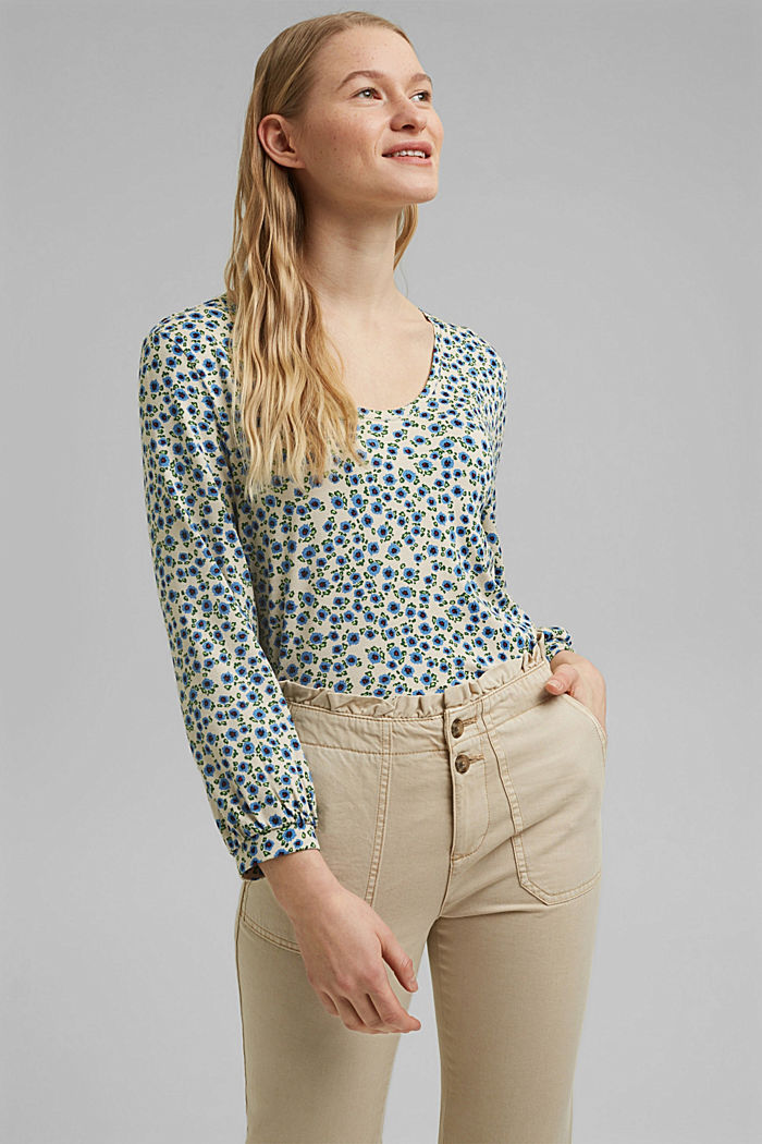 Long sleeve top with a print and balloon sleeves, OFF WHITE, detail image number 0