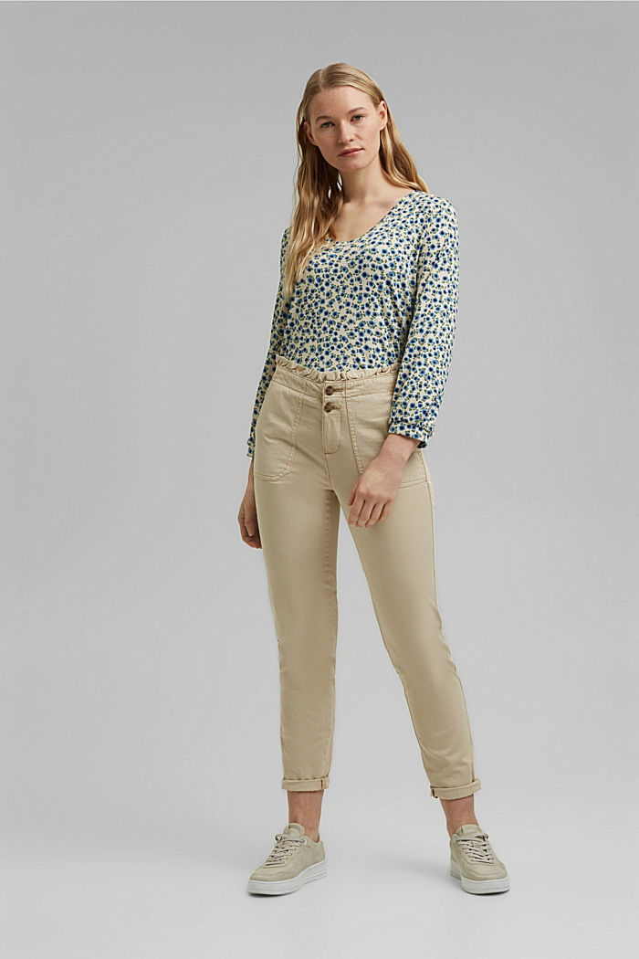 Long sleeve top with a print and balloon sleeves, OFF WHITE, detail image number 1