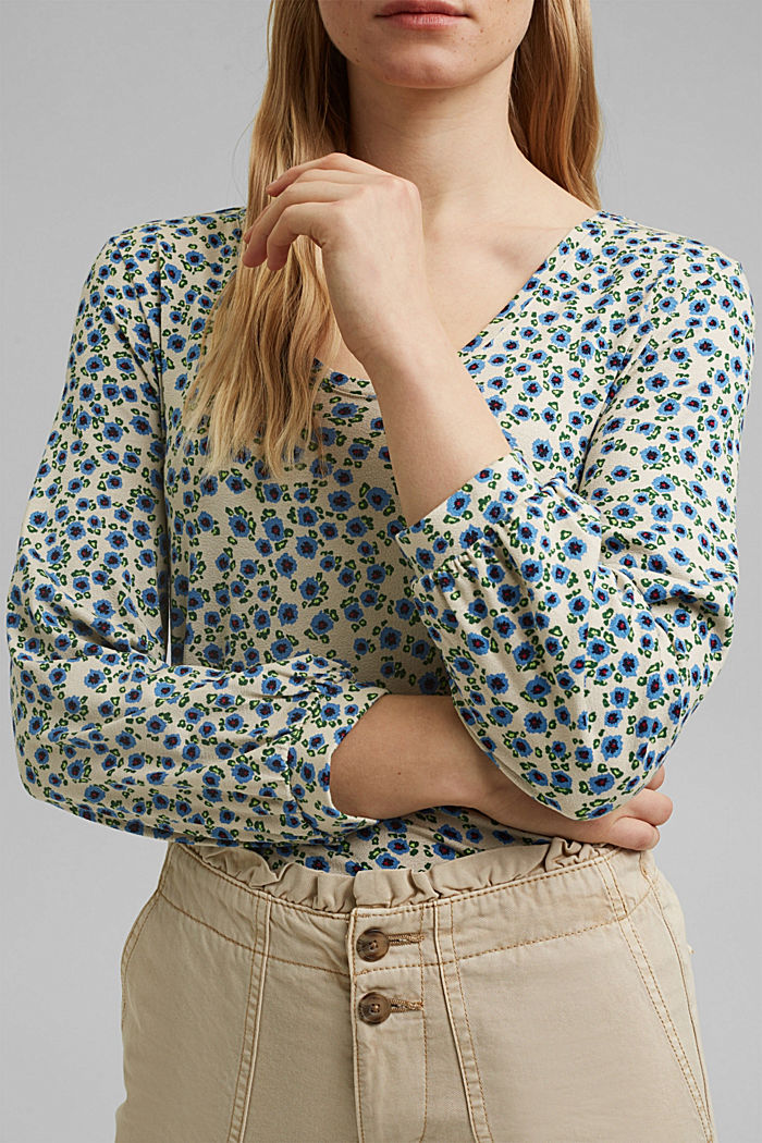 Long sleeve top with a print and balloon sleeves, OFF WHITE, detail image number 2