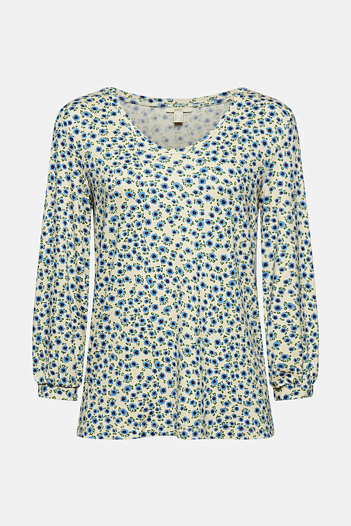 Long sleeve top with a print and balloon sleeves, OFF WHITE, detail image number 6
