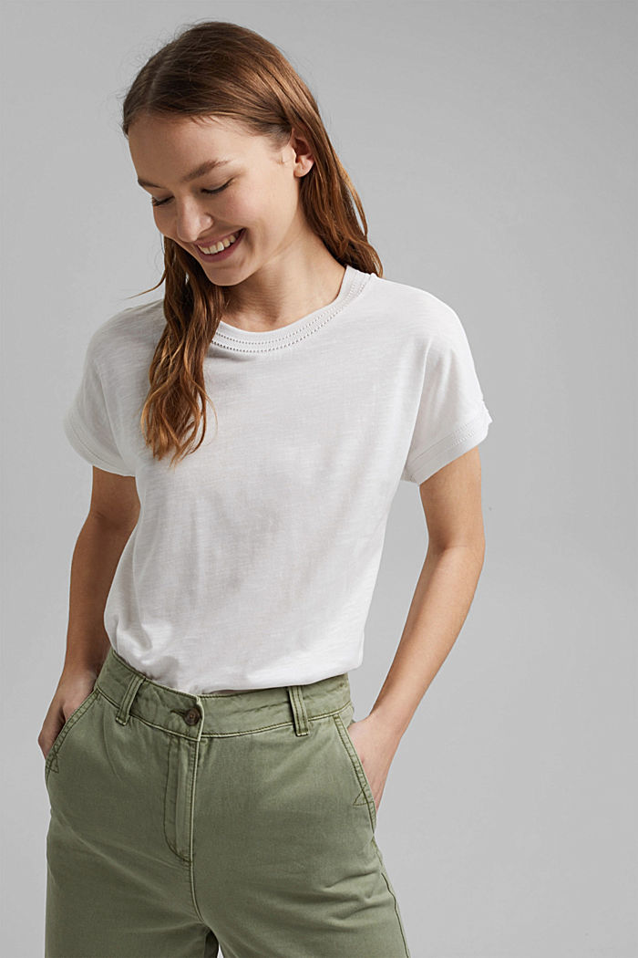 T-shirt made of organic cotton and TENCEL™/modal, OFF WHITE, detail image number 0